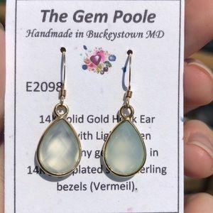 14k Gold, Green Chalcedony Tear Drop Earrings